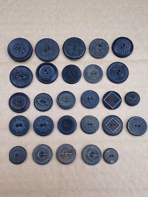 Mixed Lot Of 26 Antique Pressed Horn Sew Through Sewing Buttons 26-15 Mm In Dia