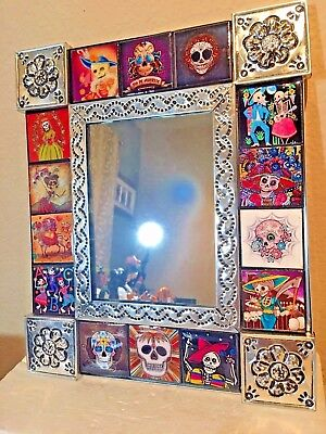 Talavera Mirror Punched Tin Day of the Dead Tile Mexican Folk Art Frame 12.5""