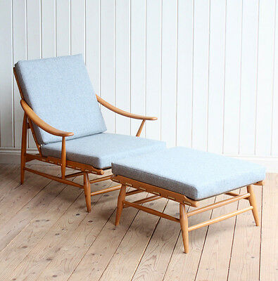 Vintage Retro Ercol Blonde 442 Lounge Arm Chair and Footstool Mid Century