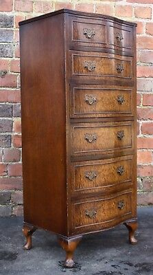 Excellent slender mahogany Queen Anne pillar chest of drawers 1950s