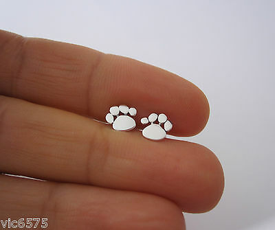 925 sterling silver small 7mm ANIMAL CAT DOG PAW PRINT stud earrings