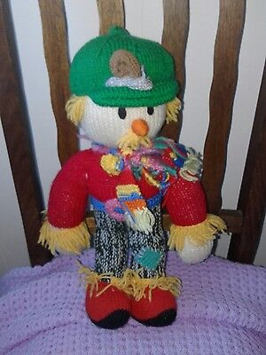 New cottage country gift hand knitted scarecrow toy decor handmade wool