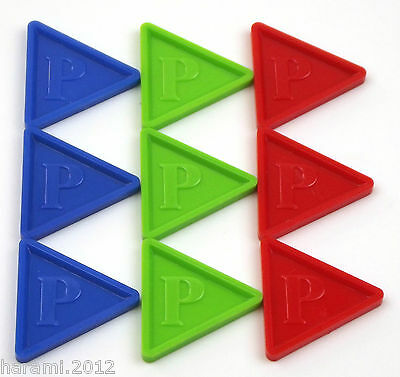 Deposit Coins Tokens Brands of Beer in Triangular Shape -P- COLOUR and Amount