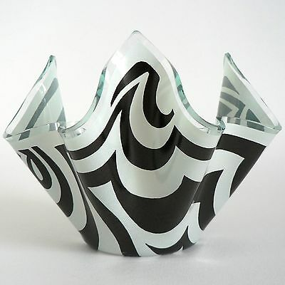 "Chance Glass Black Psychedelic 4"" Handkerchief Vase Retro Op-Art Posy Bowl 70's"