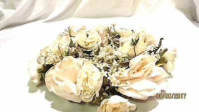 Partylite Floral Candle Ring Off White Roses
