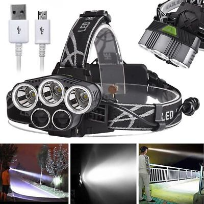 T6 LED 80000LM 5x Bright Rechargeable 18650 USB Headlamp Head Light Zoomable US
