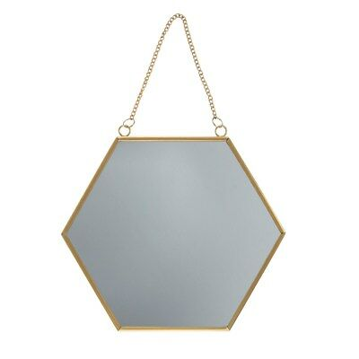 24 cm Touch of Gold Hexagon Mirror with hanging chain by Sass and Belle