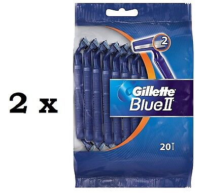 40x Gillette Blue II 2 Disposable Razors Twin Blades (2 x 20 Pack) Fast Dispatch