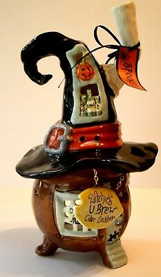Blue Sky Clayworks Heather Goldminc Halloween Witches U Brew Cider T Light House