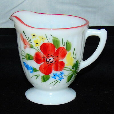 Petalware Monax* Red Trim Floral *mountain Flower *creamer*