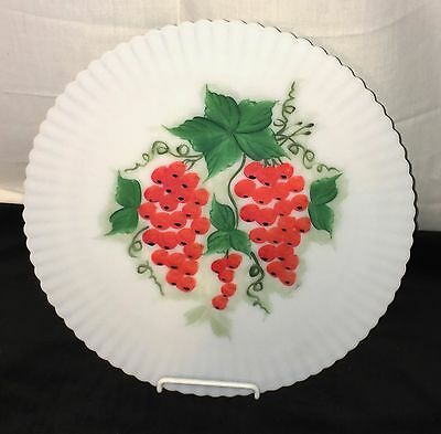 "Macbeth Evans PETALWARE MONAX *PAINTED FRUIT* RED GRAPES *11"" SALVER PLATE*"