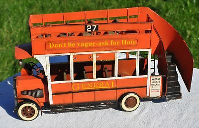1950s UK Britain DON'T BE VAGUE ASK FOR HAIG Whisky BIG Advertising Tin Bus Toy