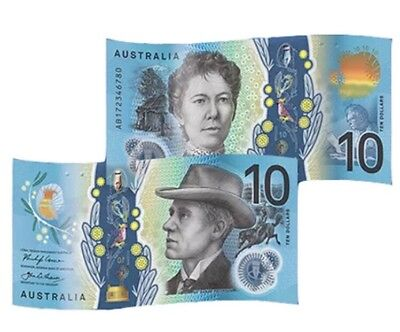 2 X 2017 Australia New $10 Uncirculated Ten Dollar UNC Banknote