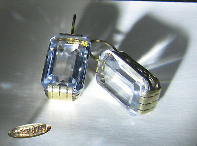 Vintage Earrings SILVER 875 Star Stamp Gold plated Rock crystal 10,68 g USSR