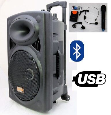 "Mak 8"" 400w Bluetooth Portable PA Active Speaker System Wireless Mic Battery USB"