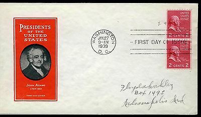 US 1939 John Adams COIL PAIR (850) First Day Cover . Ioor Cachet . FDC