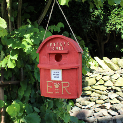 Bird house Post Box Red Traditional British Letterbox Bird House Garden Ornament