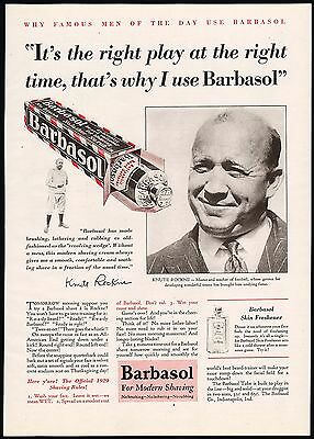 Vintage magazine ad BARBASOL picturing Knute Rockne from 1929 in n-mint cond