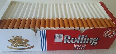 200x Empty Tobacco Cigarette Filter Tubes Rolling Long Filter 1 inch King Size