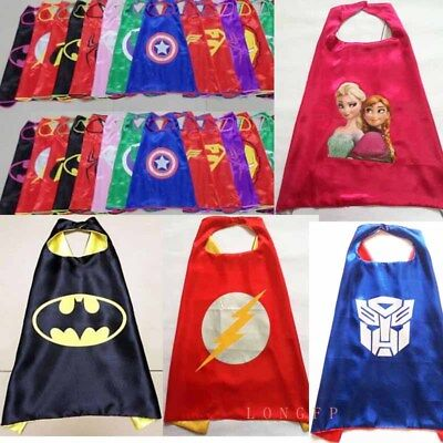 Children Super Hero Cape Masks Kids Boy Girl Fancy Dress Costume Outfit Dress up