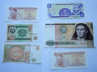 6 World Banknotes including 2 South America. Uncirculated. *6World/2S-America.1*