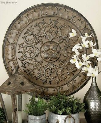 Large Wall Art Vintage Style Medallion French Garden Iron Sculpture Old World