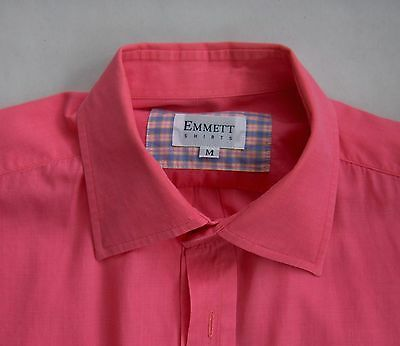 Vintage Emmett Men's Salmon Dress Shirt! French Cuffs! Size '90s M (today's XL)!
