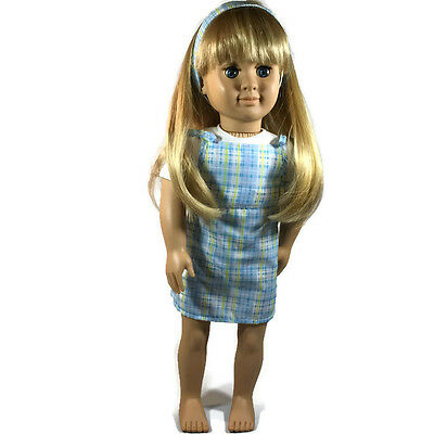 Our Generation Battat 1998 18 in Doll Blonde Hair Blue Pattern Sundress Outfit