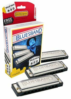 Hohner Bluesband Harmonica Set of 3 - keys of C, G and A - Value Pack