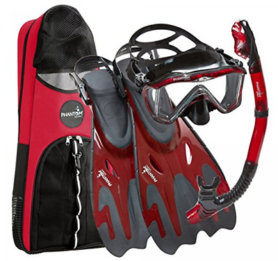 Phantom Aquatics Unisex Legendary Deluxe Mask Fin Set with Snorkeling Gear Bag,
