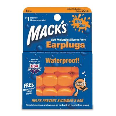 Macks Kids PillowSoft Earplugs 6 Pair Pack - Orange