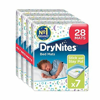 Huggies DryNites Disposable Bed Mats, Mattress Protector, 28 Mats Total 4 Packs