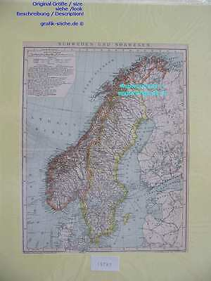15787-Schweden-Sweden-Norwegen-Norway-KARTE-MAP-LM-1890