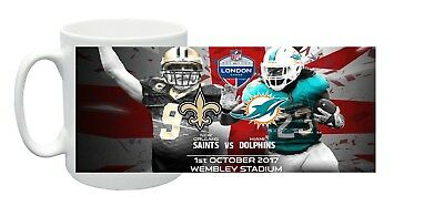 NFL London Wembley 2017 Souvenir Miami Dolphins New Orleans Saints Mug Gift Box