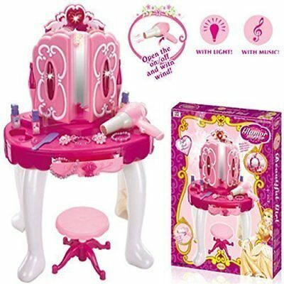 Deluxe Girls Pink Musical Dressing Table Vanity Light Mirror Play Set Toy Glamou