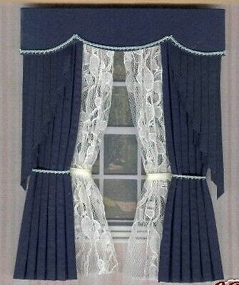 Dollshouse Curtains Navy  Swag With Tied Nets