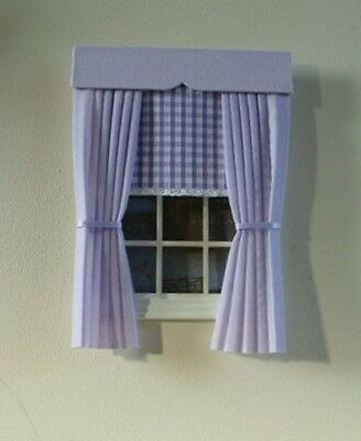 Dolls House Curtains Lilac With Gingham Blind