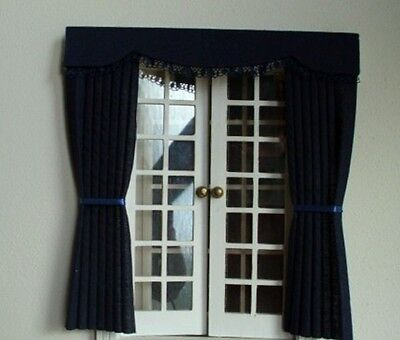 Dolls House Curtains Black  Outside Bay
