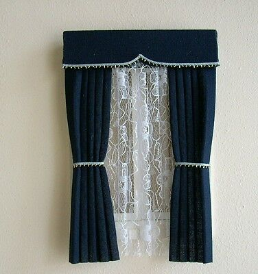 Dolls House Curtains Smart Navy