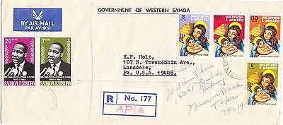 Samoa 1969 official registered cover to the USA: Christmas & Martin Luther King