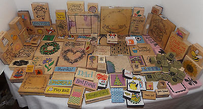 Lot 100+ Rubber Stamps Variety Crafts Cardmaking Scrapbooking -All Ink Stained