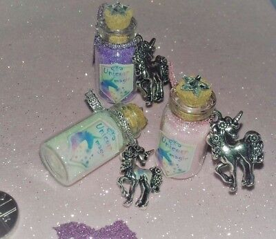 Unicorn Magic Glitter Bottles / Fairy Dust / Party Bag Favours / Charms / Gifts