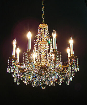 Vintage French Brass Fiery Crystals Prisms 8 Lights CHANDELIER Large Gorgeous!!!