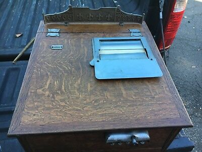 "19th century COUNTRY store Cash draw QUARTERSAWN oak 19.5"" d x 18""w x 13 3/8""h"