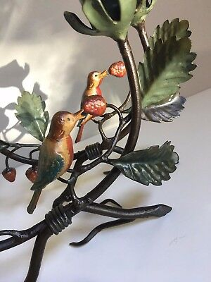 Signed pair Italy Italian tole toleware birds berries on branch candle holder