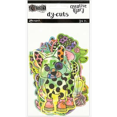 Dylusions Creative Dy-Cuts - Animals in Colour - 24 Die Cut Pieces