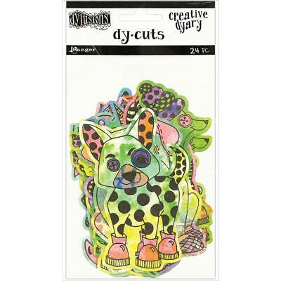 Dylusions Creative Dyary Dy Cuts - Animals in Colour - 24 Die Cut Pieces