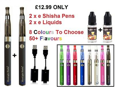 2 x e Cigarette MoonLight e Shisha Vape Pen 1100mah Full Kit EVOD + 2 e Liquid
