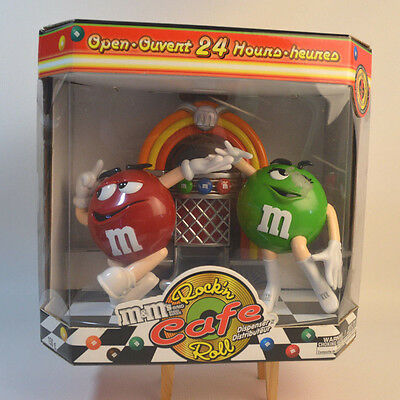 M&M Chocolate Candy  Dispenser Rock n Roll Cafe  Red Green Jukebox Collectible