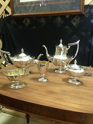 Antique Gorham Sterling Silver 5 Piece Tea Set Plymouth Pattern
